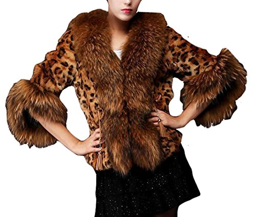 ZaGO Women Fashion Leopard Faux Fur Shawl Wrap Stole Cape...