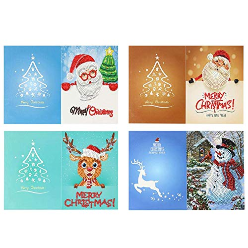 SODIAL 4PCS Christmas Party Invitations Cards DIY Santa Reindeer Snowman Xmas Tree 5D Diamond Painting Greeting Cards for Family and Friends (Style B)