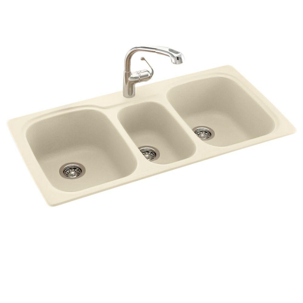 Swanstone KS04422TB.037 Solid Surface 1-Hole Drop in Triple-Bowl Kitchen Sink, 44-in L X 22-in H X 9-in H, Bone by Swanstone (Image #1)