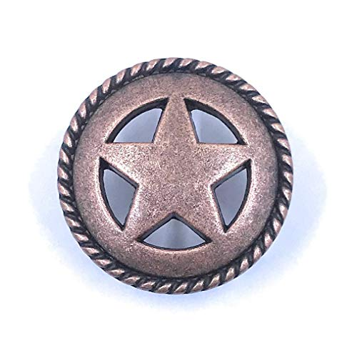 Set of 8 Star with Rope Edge Cabinet Knob Drawer Pull Copper Finish