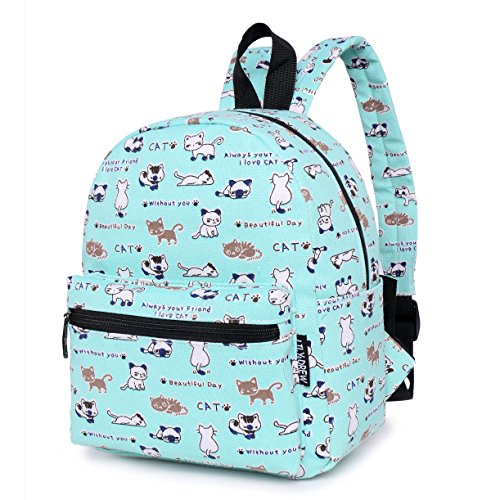 Lightweight Canvas Backpack for Women, Teens and Kids (Cat Blue Small (Lightweight Travel Courier Bag)