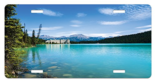 Landscape License Plate by Ambesonne, Historical Ancient Castle by the Crystal Color Lake Canadian Rurals Art, High Gloss Aluminum Novelty Plate, 5.88 L X 11.88 W Inches, Turquoise Green - Historical Crystal