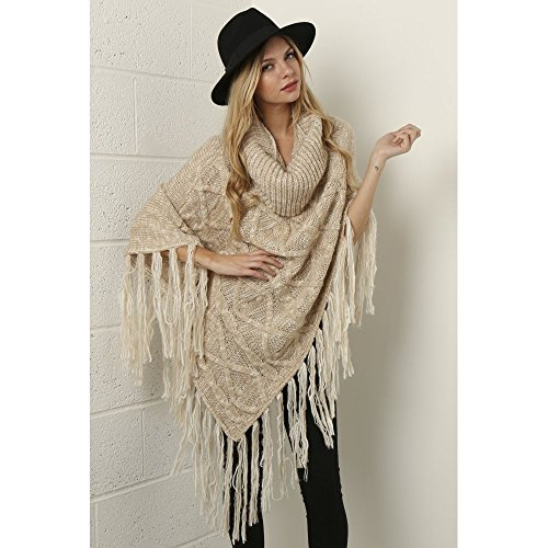 Misses Cable Knit (Miss Foxy Cable Knit Shawl In Beige One Size Stone)