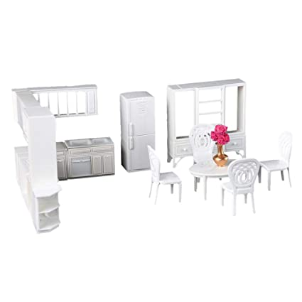 Fabulous Flameer 1 25 Scale Dollhouse Mini Kitchen Furniture Table Chairs Cabinet Model Kids Diy Accessories Caraccident5 Cool Chair Designs And Ideas Caraccident5Info
