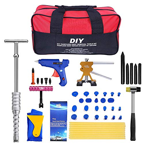 - 46pcs Paintless Dent Repair Tool Dent Puller Kit, Pops a Dent Car Dent Removal Kit, Golden Lifter, Slide Hammer Puller & Glue Gun for Automobile Body Motorcycle Refrigerator with Tools Box