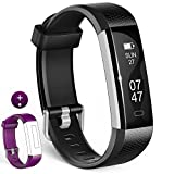 Fitness Tracker - Wesoo K1 Fitness Watch : Activity Tracker Smart Band with Sleep Monitor - Smart Bracelet Pedometer Wristband with Replacement Band for iOS & Android (Black+Purple Band)