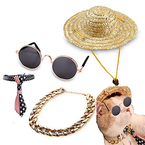 Queenmore 4 Pack Pet Hats Collar Sunglasses Sets for Dogs Cats, Cool Mini Sun Straw Hat, Beach Summer Head Costume Caps]()