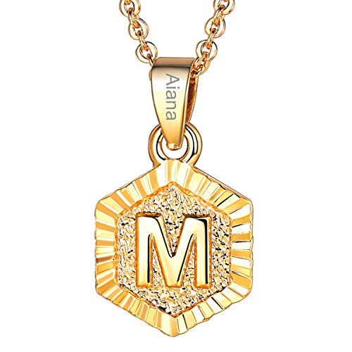 - Initial Letter Pendant Necklace Girls Women 18K Gold Plated Hexagon Script Capital Initial Jewelry Stainless Steel Ajustable Chain 20 Inch Monogram Customized Name Personalized Gift(Alphabet M)