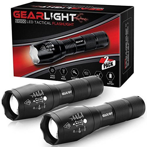 GearLight LED Tactical Flashlight S1000 [2 PACK] - High Lumen, Zoomable, 5 Modes, Water Resistant, Handheld Light - Best Camping, Outdoor, Emergency, Everyday (Rechargeable Tactical Flashlight)