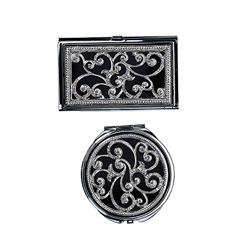 CTM Business Card Case Compact Mirror Gift Set, Silver