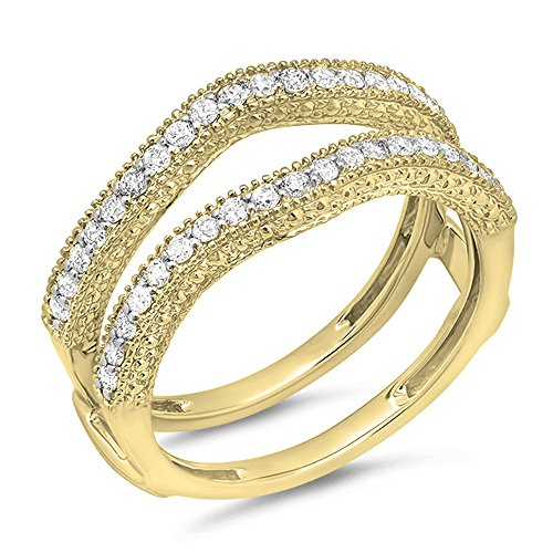 045-Carat-ctw-14K-Gold-Diamond-Ladies-Anniversary-Wedding-Band-Guard-Double-Ring-12-CT
