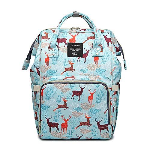 - LEQUEEN Diaper Bag Multi-Function Baby Diaper Backpack Nappy Bags, Mom Dad Travel Backpack Large Capacity Baby Bags (Water Blue & Reindeer)