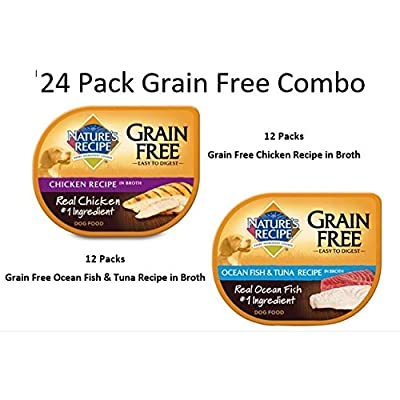 Nature's Recipe 24 Pack Grain Free Combo Wet Dog Food, 2.75 oz Cup - (12) Grain Free Chicken Recipe in Broth and (12) Grain Free Ocean Fish & Tuna Recipe in Broth