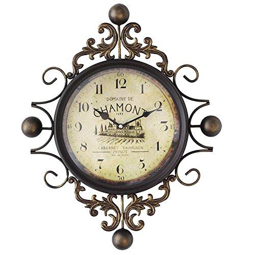 DXNSPF Meta Iron Wall Clock, European Style Retro Mute Home Living Room Wall Decoration Pendant, 18.514.1Inch, Arabic numerals