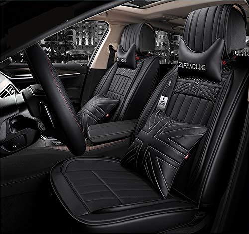 YJF-QCZT Easy to Clean PU Leather Car Seat Cushions 5 Seats Full Set - Rivet Decorated Universal Fit Cover Anti-Slip Suede Backing Adjustable Bench for 95% Types of Cars,Black: Amazon.co.uk: Kitchen & Home