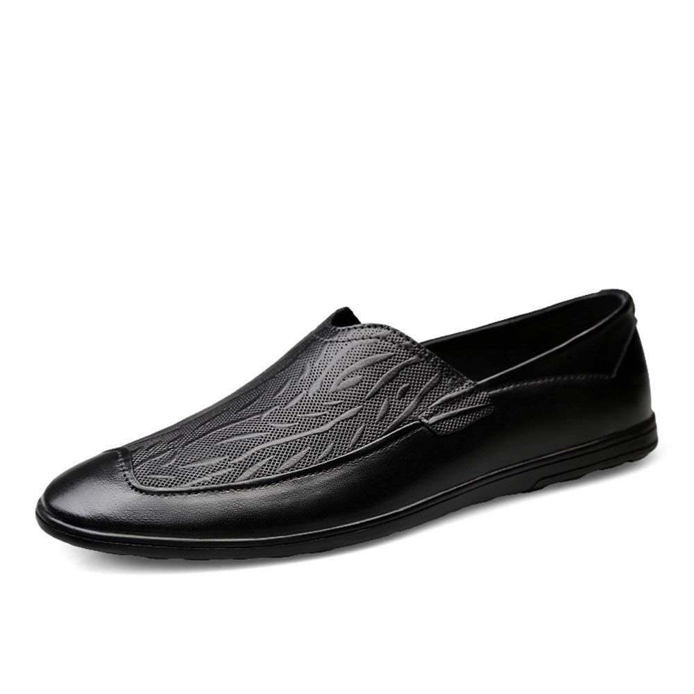 Schwarz QISTAR-MAN Mokassin Stiefelschuhe Driving Loafer for for Mau ;nner Slip On Style OX Leder Geprau ;gte Oberflau ;che Low Top Simple British Style Penny-Loafer (Farbe   Schwarz, Grou ;szlig;e   44 EU)  Grundpreis