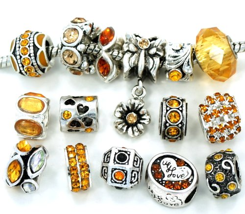 Yellow Gold Spacers (Pro Jewelry Yellow Gold Crystal Rhinestone Beads, 10 Assorted)