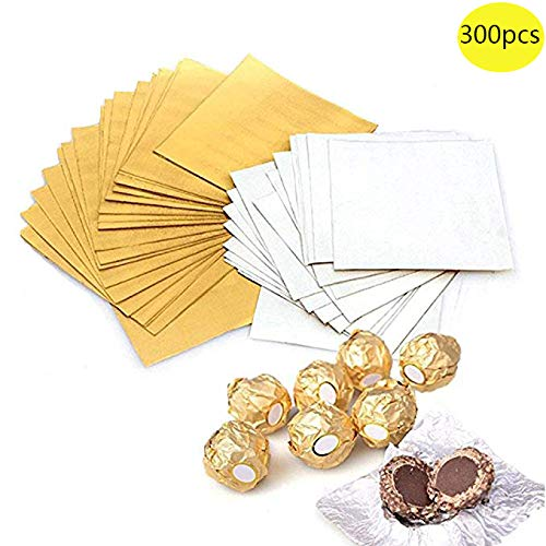- Haawooky 300 Pieces 4 Inch Square Golden Aluminium Foil Candy Wrappers Sugar Wraps Paper for DIY Candies and Chocolate Packaging by Party/Wedding/Birthday/Chrismas Accessories