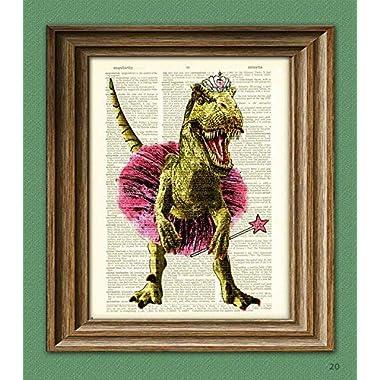 Dinosaur In Ballerina Outfit Big Tina's First Recital  Pink Tiara T-Rex Allosaurus Art Print Beautifully Upcycled Dictionary Page Book Art Print