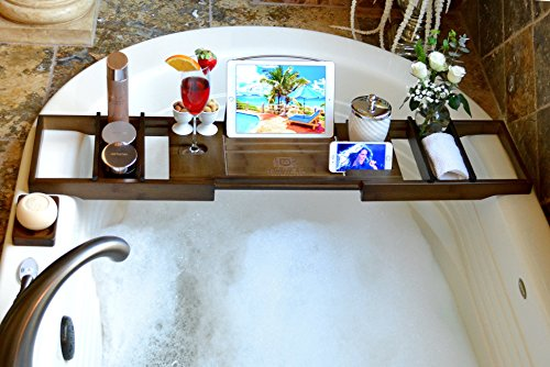 Royal Craft Wood Luxury Bamboo Bathtub Caddy Tray, Free Soap Holder (Brown)