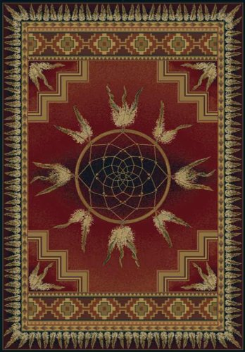 United Weavers of America Genesis Collection Dream Catcher Heavyweight Heat Set Olefin Rug, 7-Feet 10-Inch by 10-Feet 6-Inch, Crimson