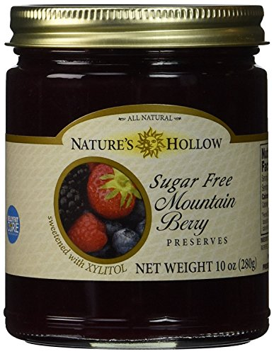 Nature's Hollow Sugar-Free Mountain Berry Jam Preserves, 10 Ounce (Raspberry Sugar Free Preserves)