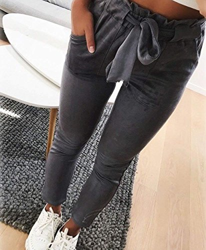 Pantaloni Moda Pantaloni Pantalone Eleganti Estivi Due Tempo Libero Pantalone Pants Lunghe Ragazze Dei Dunkelgrau Tasche Fit Matita Giovane Style Tendenza Ragazze Pantalone A Stripe Waist A Festa High Slim x4wCxvq8