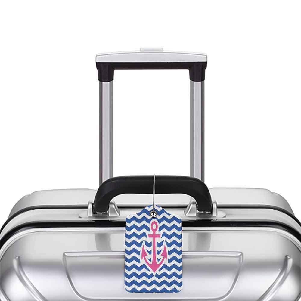 Waterproof luggage tag Anchor Decor Collection Simple Horizontal Zig Zag Geometric Pattern Welcoming Maritime Stripes Artwork Design Soft to the touch Cobalt Magenta W2.7 x L4.6