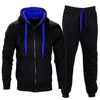 2703739257f Fashionmy Men s Sweatsuits Casual Hip Hop Tracksuits Hoodies Jogging Sports  Black-Blue