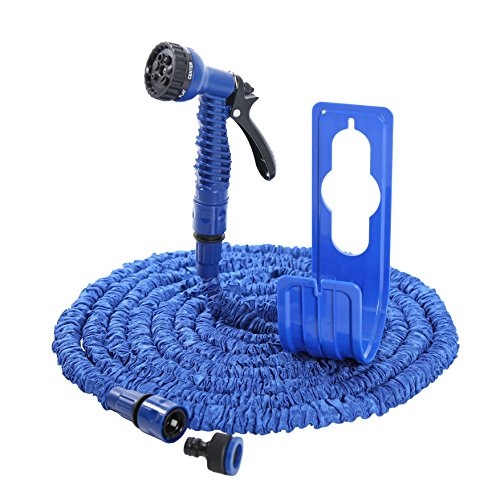 Flexibler Gartenschlauch blau Wasserschlauch Magic Hose dehnbarer Zauberschlauch (mit Schlauchhalter)
