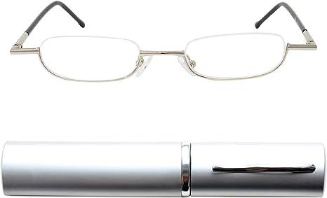 Argento Occhiali Lettura Tascabili Uomo e Donna Diottrie +1.0 Montatura in Acciaio IN OMAGGIO Custodia Compatta in Alluminio Mini Occhiali da Lettura Leggeri