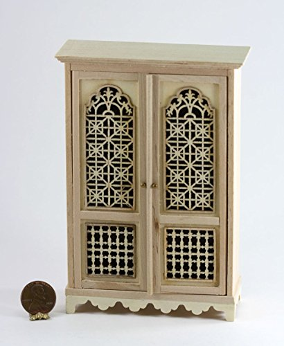 Dollhouse Miniature Unfinished Hand Carved (Unfinished Wide Cabinet)