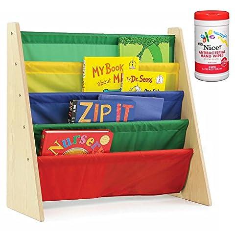 Tot Tutors Kids 4-Pocket Book Rack Organizer in Primary with Antibacterial Hand Wipes