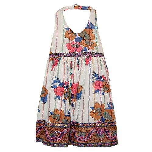 Blueberi Boulevard Cotton Sundress - Girls Blueberi Boulevard Floral & Lurex Halter Sundress (5)
