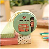 MStick Tinplate Utility Zipper Round Headphones/Coin Pouch Bag Key Holder for Birthday Gifts