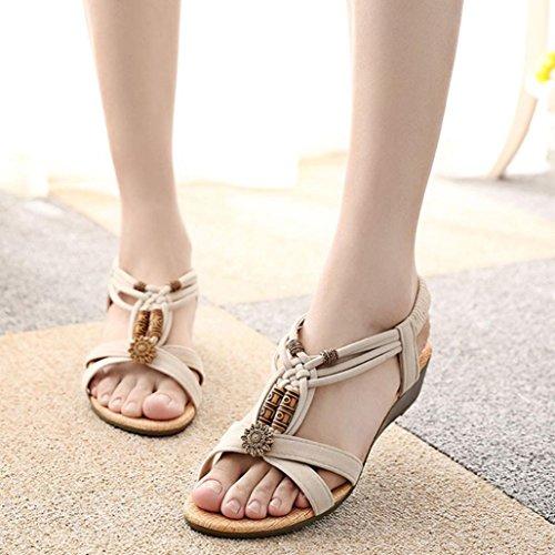 Sandalias Bohemia,Xinantime Sandalias del Verano Romanas Zapatos de Hebilla Beige