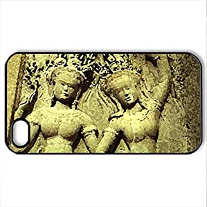 Apsaras of Angkor Wat - Case Cover for iPhone 4 and 4s (Ancient Series, Watercolor style, Black)