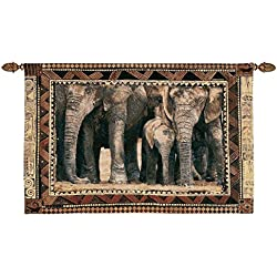 Design Toscano African Wildlife Among Family Wall Tapestry, Full Color