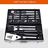 Stainless Steel BBQ Grill Accessories Tool Set with Aluminum Storage Case, ...