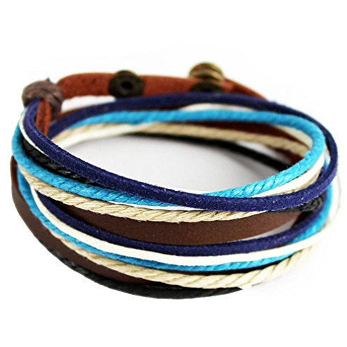 PopJ Handmade Rope Bracelet, Adjustable Leather Bracelet with Charms Multi-layer Design (Multi-color)