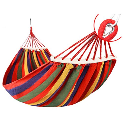 Outdoor Chair Alder (Zheng Hui Home Hammocks Canvas Outdoor Hammock Camping Preventive roll-Over Wooden Swing Chair 200 150 cm (Color : Red))