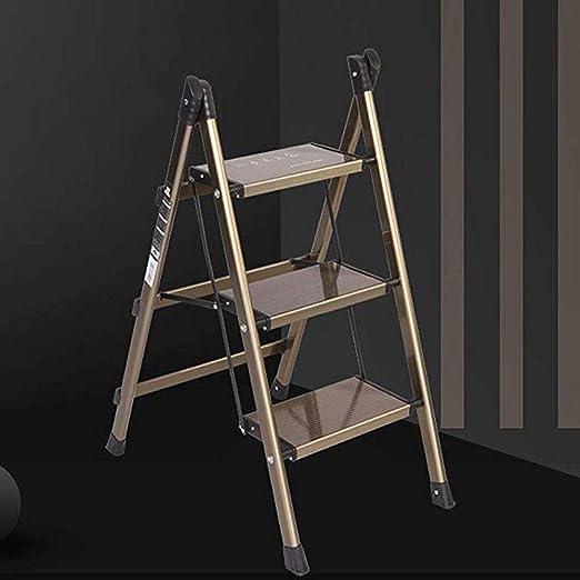YWAWJ Taburete Plegable de 3 escalones con Estructura de Acero con Agarre Manual y peldaños de plástico Acabado Plateado Ahorro de Espacio Escalera portátil portátil multifunción Biblioteca de Cocina: Amazon.es: Hogar