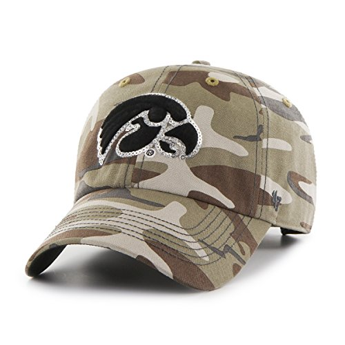 '47 NCAA Iowa Hawkeyes Women's Sparkle Camo Clean Up Adjustable Hat, One Size, Faded Camo ()