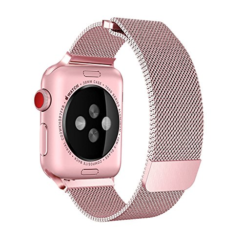BRG Compatible Apple Watch Band 42mm, Stainless Steel Mesh Milanese Loop Adjustable Magnetic Closure Replacement iWatch Band Compatible Apple Watch Series 3 2 1 (42mm Rose Gold) by BRG (Image #1)
