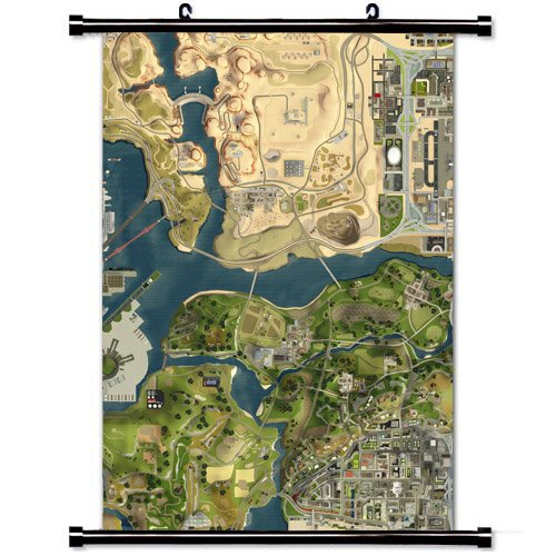 Art Poster with Gta San Andreas Map Game Wall Scroll Fabric Painting