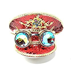 Red Rhinestone/Sequins Steampunk Style Hat with Goggles