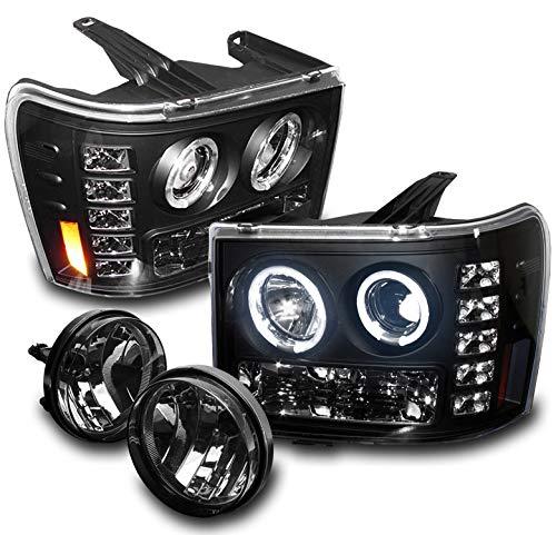 2007-2013 GMC Sierra 1500 / 2007-2014 2500 HD / 3500 HD Halo LED Projector Headlights with Smoke Fog Lights - Black -