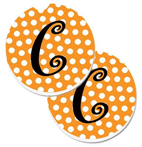 - Caroline's Treasures Monogram Initial C Orange Polkadots Set of 2 Cup Holder Car Coasters CJ1033-CCARC, 2.56, Multicolor
