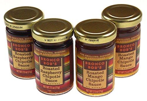 Bronco Bob's Roasted Raspberry Chipotle & Roasted Mango Chipotle Sauce 4 Jar Bundle (Sauce Roasted Raspberry)