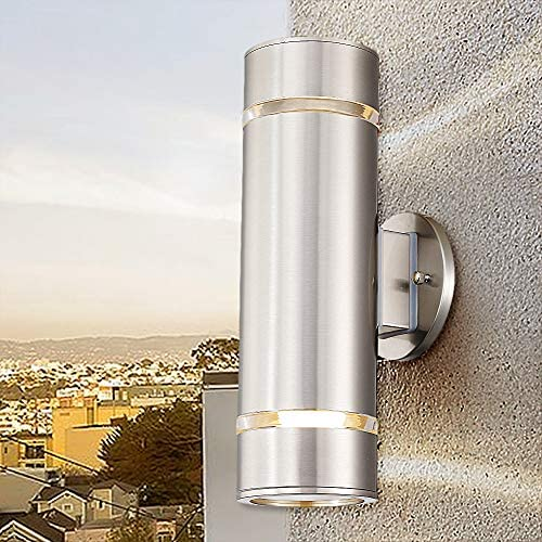 Cerdeco Aureole-Series Modern Porch Light UL-Listed Stainless Steel Satin Nickel Finished Outdoor Wall Lamp Weather-Proof Cylinder Wall Sconce Suitable for Garden Patio